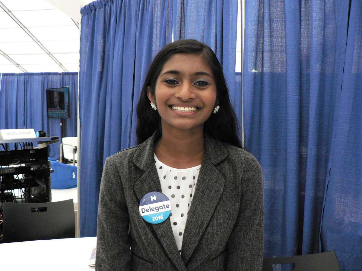 Sruthi Palaniyappan, who is 18 years old, is the youngest Indian American delegate to the Democratic Party\'s national Convention in Philadelphia in July, 2016. (Credit: IANS)
