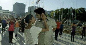 "Ali Fazal (3 Idiots) and Melanie Kannokada (Brown Nation) in a scene from ""For Here or To Go?"" a comedy drama on battles faced by Indian immigrants in America"
