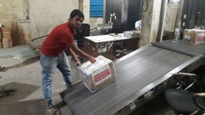 Sagar Vishwanath Nirgun of AmeriCares India loads a shipment of medical supplies headed to Tamil Nadu on Friday, Dec. 4, 2015. Photo courtesy of AmeriCares India.