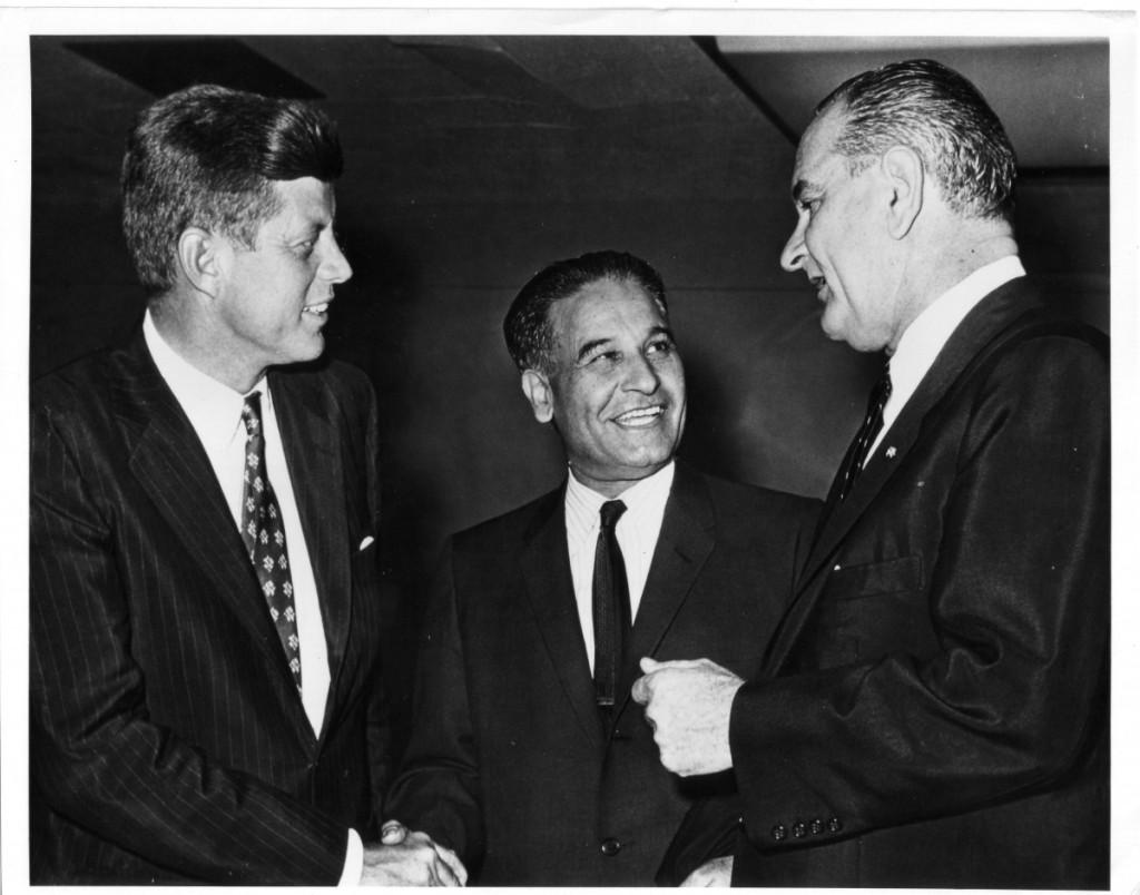 Congressmn Dilip Singh Saund with John F. Kennedy and Lyndon B. Johnson.