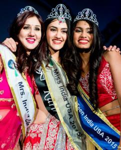 Miss India USA 2015 Karina Kohli flanked by Mrs. India USA Neha Multani Verma (L) and Miss Teen India USA Aanchal Shah (R) (Photo: Suresh Jilla and John Martin)