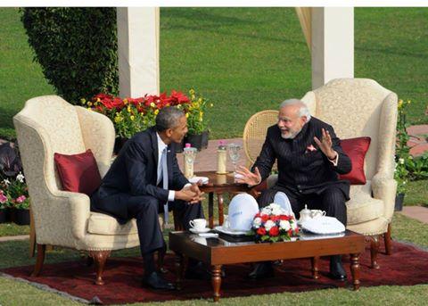 US President Obama and Indian Prime Minister Modi in New Delhi