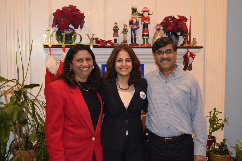Neera Tanden (center) with Latha Mangipudi (left)