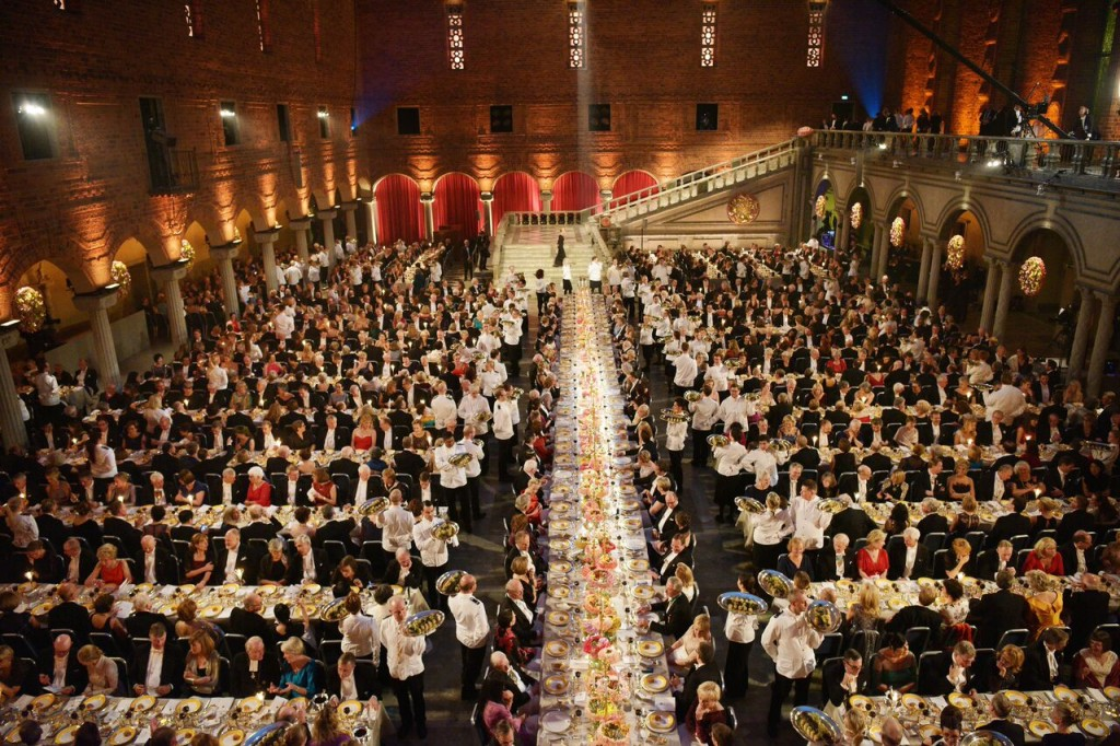Overview of the Nobel Banquet at the Stockholm City Hall, on December 10.Copyright © Nobel Media AB 2015. Photo: Alexander Mahmoud.