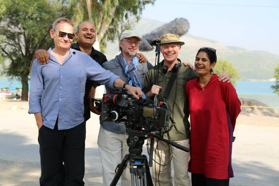 The BBC film crew on location in Northern Pakistan: left to right: Spike Geilinger (camera), Khalid Waseem (fixer), Hugh Thomson (series director), Benedict Taylor (sound) and Sona Datta, PEM Curator of South Asian Art. Photo by Ben Taylor, Tern TV.