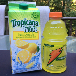 Gatorade contains 3 tsp of sugar and this lemonade contains both HFCS and sucrose, contributing to 7 tsp of sugar. © Copyright, Sangeeta Pradhan, RD, LDN, CDE August 2015.