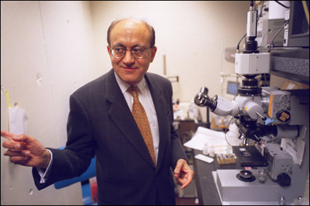 Rakesh Jain in his lab (Photo: Harvard Gazette)