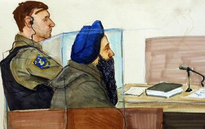 This June 6, 2001 artist's rendering shows Air India bombing suspect Inderjit Singh Reyat in a Vancouver courtroom. (Photo courtesy: AFP)