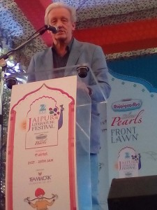 Legendary British traveller and writer Colin Thubron speaking about his experiences at the Jaipur Literature Festival on Monday