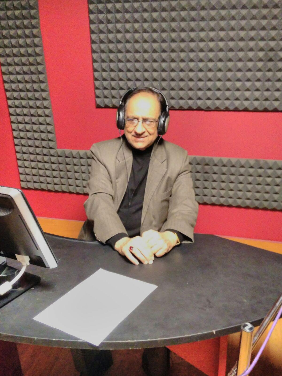Ustad Ghulam Ali during dubbing of his debut acting venture at a Delhi studio.