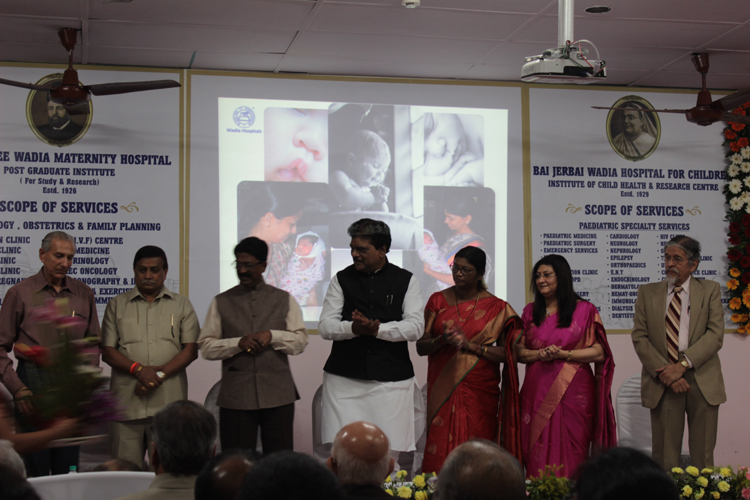 Maharashtra Health Minister Deepak Sawant (centre) at the inauguration of the Wadia Assisted Reproduction Technology Centre in Mumbai.