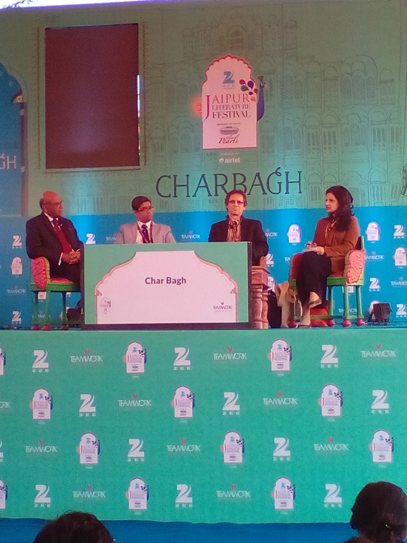Former Indian foreign secretary Shyam Saran, academician Venkat Dhulipala, French South Asian expert Christophe Jaffrelot and Pakistani journalist reema Abbasi at a session on Pakistan at the Jaipur Litfest.