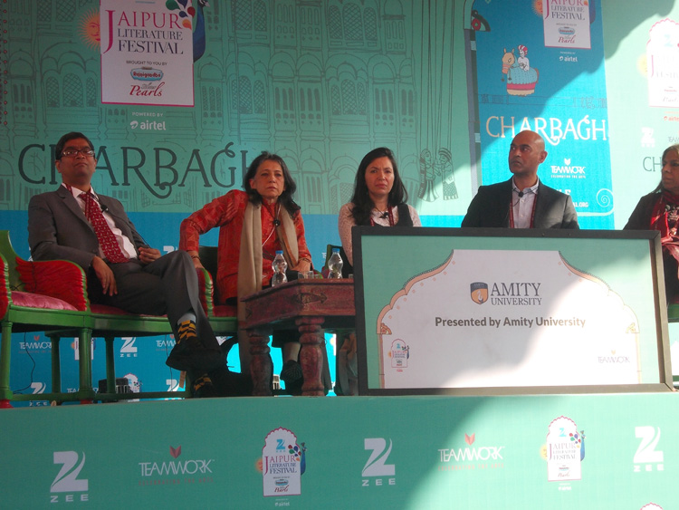 Historians Venkat Dhulipala, Ayesha Jalal, Ayesha Khan, Nisid Hajari and Urvashi Butalia at a session on the Partition at the Jaipur Literature Festival on Sunday