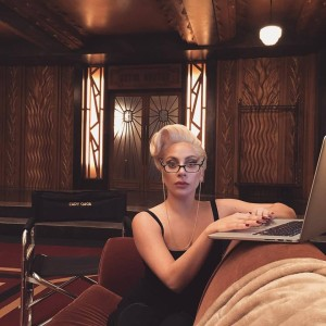 Lady Gaga on deadline as Guest Editor for V Magazine (Photo: posted by her in Facebook)