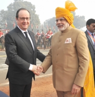 French President and Prime Minister Modi at Republic Day.