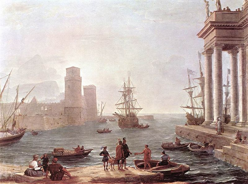 Odysseus departs from the Land of the Phaeacians. Painting by Claude Lorrain