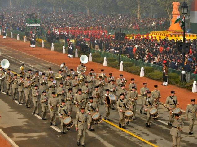 Photo courtesy: The Hindu: French Military Band along with the contingent of the 35th Infantry Regiment seen marching during the 67th Republic Day Celebration at Rajpath in New Delhi on Tuesday. Photo : R. V. Moorthy