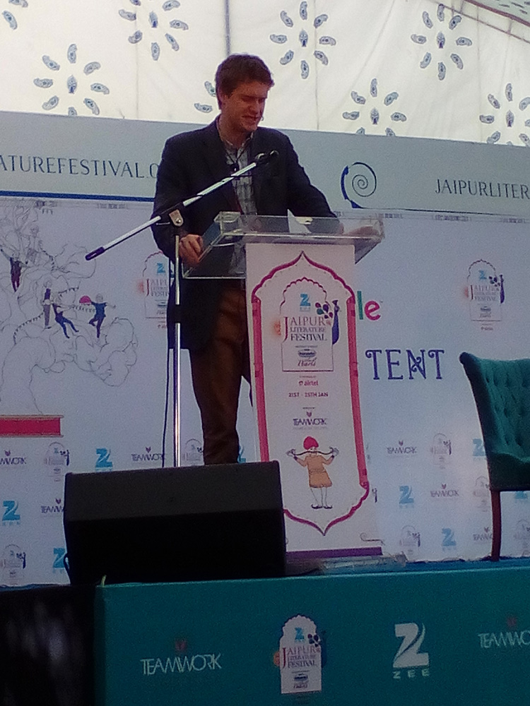 British politician and author Tristram Hunt speaking on the cities of the British empire at the Jaipur Literature Festival.