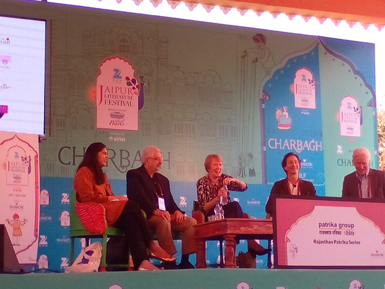 (Left to right) Author Vedica Kant, American historian Ronald Grigor Suny, Canadian historian Margaret Macmillan, British author Anthony Sattin and British historian Eugene Rogan discuss the fall-out of World War I