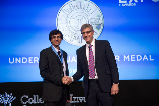 Davey received a silver medal at the Collegiate Inventors Competition for the microfluidic technique he developed. (Photo courtesy of the Collegiate Inventors Convention.)
