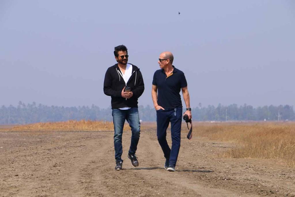 Anil Kapoor taking Howard Gordon around at 24 India shoot location in Vasai.