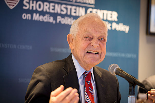 "Bob Schieffer, Walter Shorenstein Media & Democracy Fellow; and former CBS News anchor and host of ""Face the Nation"" discusses the upcoming presidential election at the Malkin Penthouse at Harvard University Kennedy School.  Rose Lincoln/Harvard Staff Photographer"