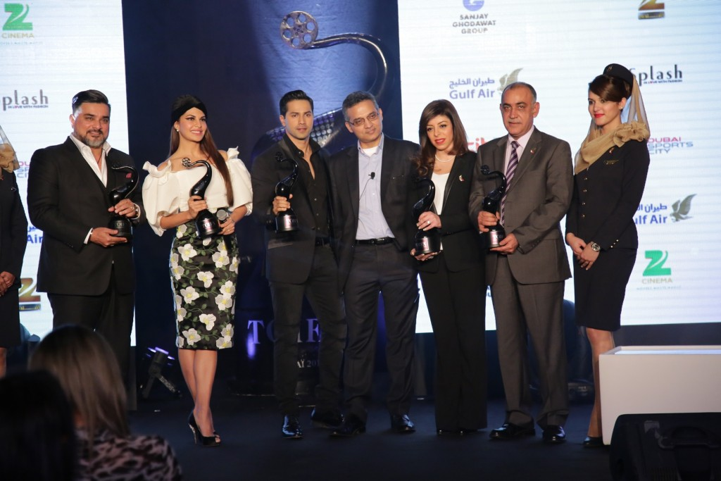 L to R - Mr Raza Beig CEO Splash and ICONIC, Jacqueline Fernandes, Varun Dhawan, Sameer Soni Director International Business, The Times of India, Ms Sahar Kamran Ataei CFO of Gulf Air