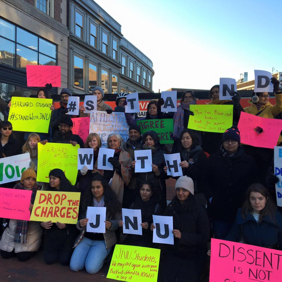 Harvard University students rally to express their support for JNU students (Photo: Swati Gupta)