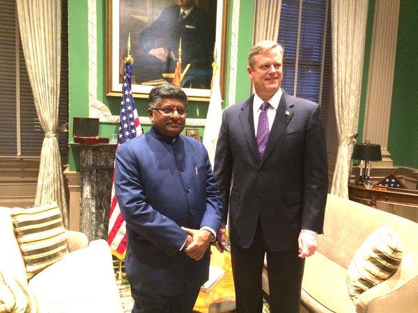 Ravi Shankar Prasad met Massachusetts Governor Charlie Baker