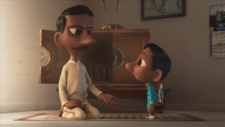 """In Pixar Animation Studios' """"Sanjay's Super Team,"""" a first-generation Indian-American boy whose love for western pop culture comes into conflict with his father's traditions. He embarks on a journey henever imagined, returning with a new perspective they can both embrace.Directed by Sanjay Patel and produced by Nicole Paradis Grindle, the new short opens in front of Disney•Pixar's """"The Good Dinosaur """"on Nov. 25, 2015. ©2015 Disney•Pixar. All Rights Reserved."""