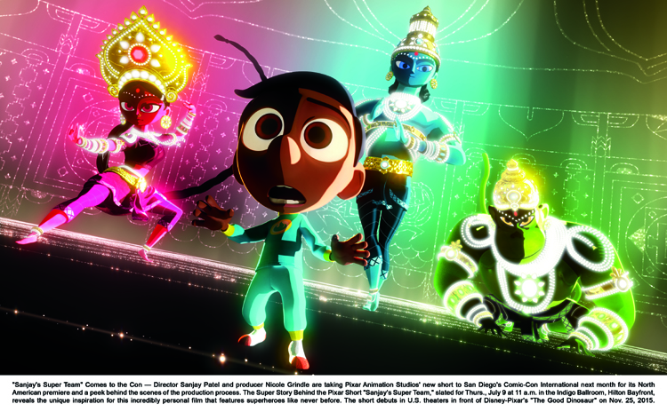 """""""Sanjay's Super Team"""" Comes to the Con ? Director Sanjay Patel and producer Nicole Grindle are taking Pixar Animation Studios' new short to San Diego's Comic-Con International next month for its North American premiere and a peek behind the scenes of the production process. T"""