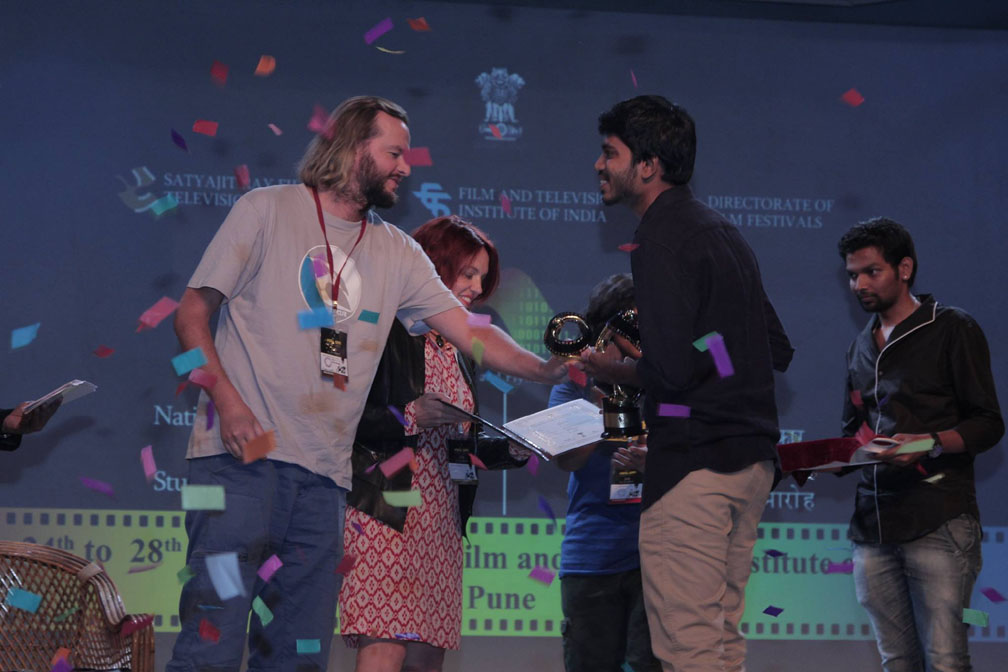 """Aakash Doshi receiving the""""Best Documentary"""" award for his film """"Shifting Tides"""" at the National Students Film Awards held at Film and Television Institute of India (FTII), Pune, in 2015."""