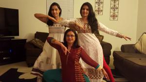 Vasudha Kudrimoti, Sirivalli Konduri and Kali Priya Kommana practicing Marathi dance.
