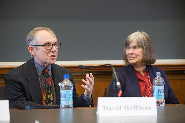 """David Hoffman and Jacqueline Olds joined a panel of experts at the Law School on """"Negotiating Love: Interpersonal Negotiation and Romantic Relationships,"""" offering such advice as have a joint bank account, don't start using negotiation skills too early in a relationship, and never make assumptions. (Photo: Jon Chase/Harvard Staff Photographer)"""