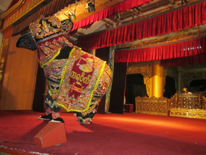 An elephant (costume) dance depicts Burmese culture and history at the Karaweik Palace restaurant in Yangon in Myanmar.