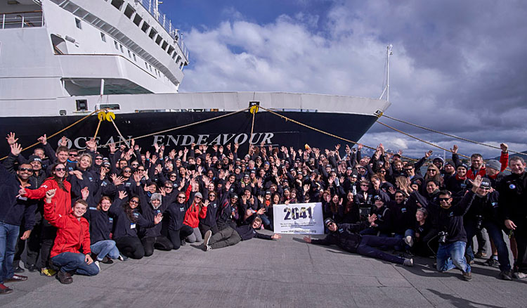 A team of 150 members from 26 countries on board Ocean Endeavour cruise before sailing to Antarctica from Ushuaia in south Argentina: pic by 2041 Foundation.