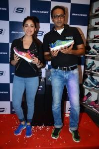 Rahul Vira CEO Skechers South Asia Pvt Ltd and Yami Gautam at the Skechers Burst launch