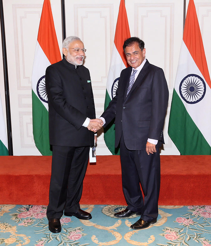 Sudhir Parikh (right) with Indian Prime Minister Modi