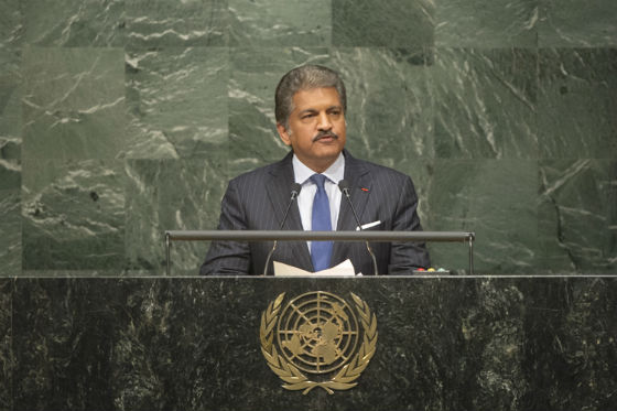 Anand Mahindra of the Mahindra Group addressed the opening of the signing ceremony for the Paris climate change agreement Friday, April 22, 2016, on behalf of the world's corporate sector. (Credit: UN/IANS)