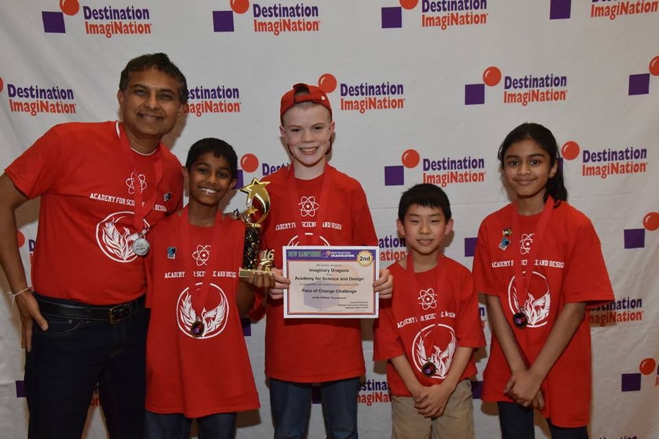 From left to right - Pankaj Shah, Team Manager, Rikhav Shah, Ryan Fischer, Kendle Lam, Sanjana Kunnikuru