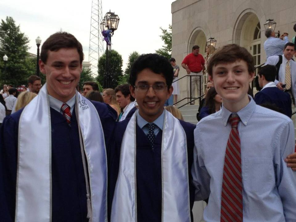 Hemanth Sanjeev (center). File photo from Facebbok 2014 when he graduated from Stratford Academy)