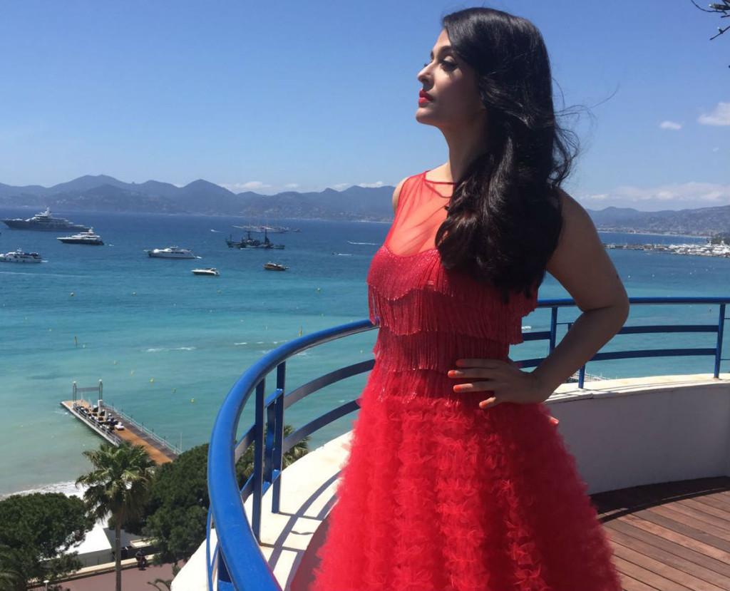 Aishwarya Rai Bachchan on the rooftop of Hotel Martinez post press interactions