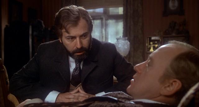 "Sigmund Freud (Alan Arkin) attempts to treat Sherlock Holmes (Nicol Williamson) in 1976 film ""The Seven-Per-Cent Solution"""