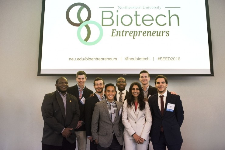 Graduate students from the winning teams, Bion and 3D Fortify, in the Biotech Entrepreneurs' inaugural Science and Engineering Entrepreneurship Design Competition. Photo by Adam Glanzman/Northeastern University