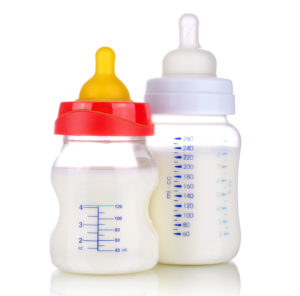 Baby bottles, isolated on white