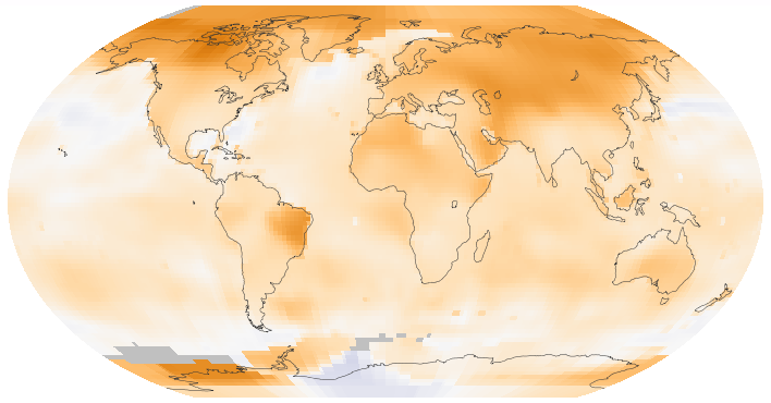 Global mean surface temperature change from 1880 to 2015, relative to the 1951–1980 mean. The black line is the annual mean and the red line is the 5-year running mean. Source: NASA GISS. (Photo courtesy: Wikipedia)