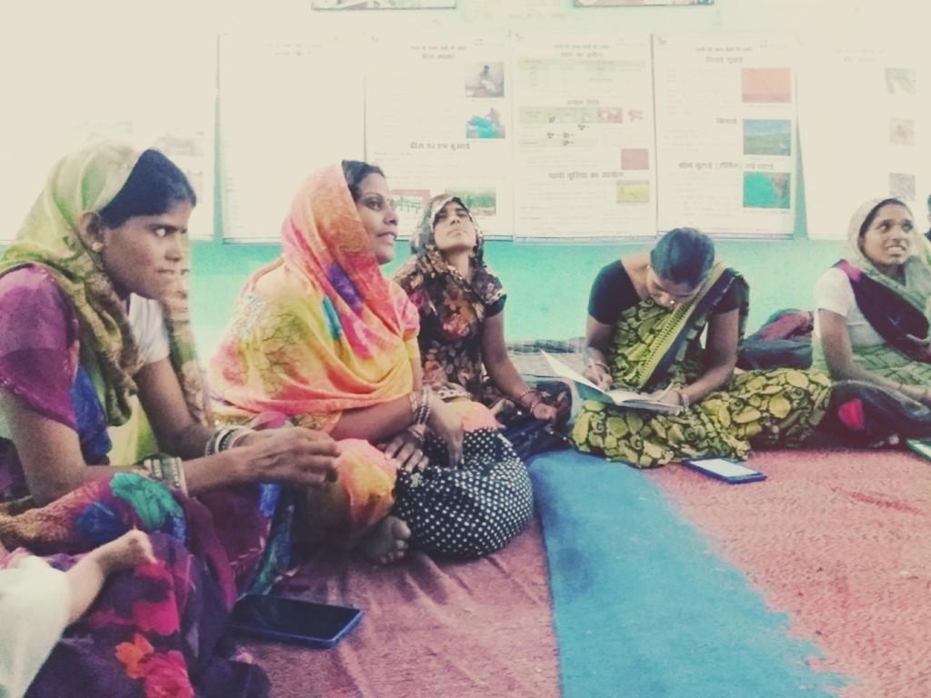 Village women attending weekly meetings of Internet Saathi