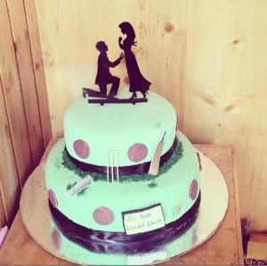 Cricket stadium theme based fondant cake