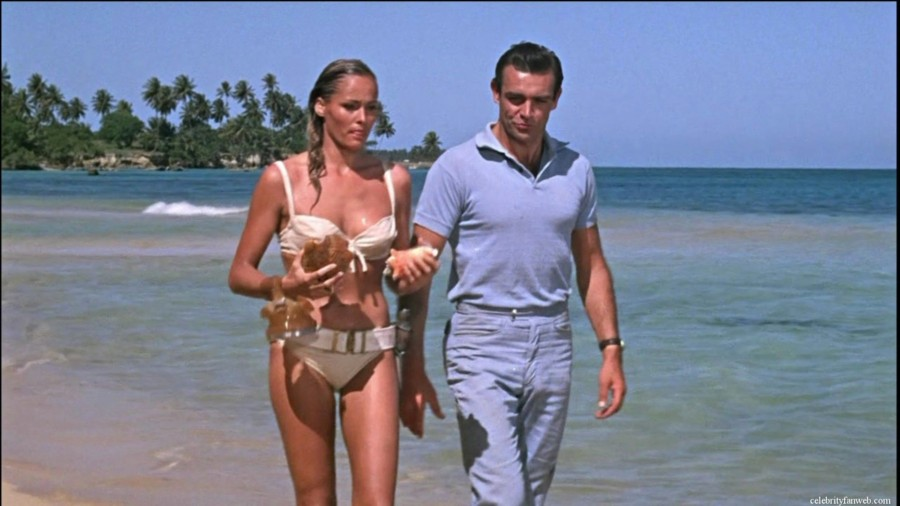 """Ursula Andress and Sean Connery in \""""Dr No\"""" - the sixth James Bond novel but the first to be filmed, and set entirely in the Caribbean"""