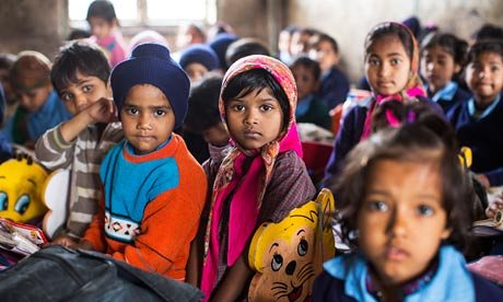 Children at Madanpur Khadar primary school in a district of New Delhi where the three primary schools are woefully short of teachers. Photograph: David Levene  (File photo courtesy The Guardian)